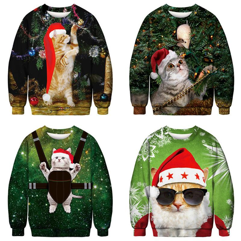 3D Printing Mens Casual Style CHRISTMAS SWEATER Pet Wear Xmas Hat Funny Homme Pullover Sweaters Tops Autumn Winter Clothing