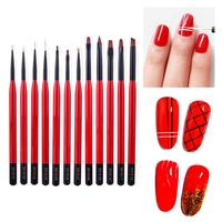 12pcs/set Nail Art Pen for 3D Nail Art Nail Painting Drawing Pen Gel Polish Phototherapy Dotting Brush Set Nail Art Tool