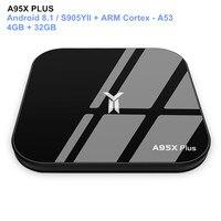 A95X PLUS Android 8.1 TV Box S905YII 4K HD 4GB / 32GB Smart Media Player BT4.2 USB Flash Drive 2.4/5GHz WiFi Set Top Box