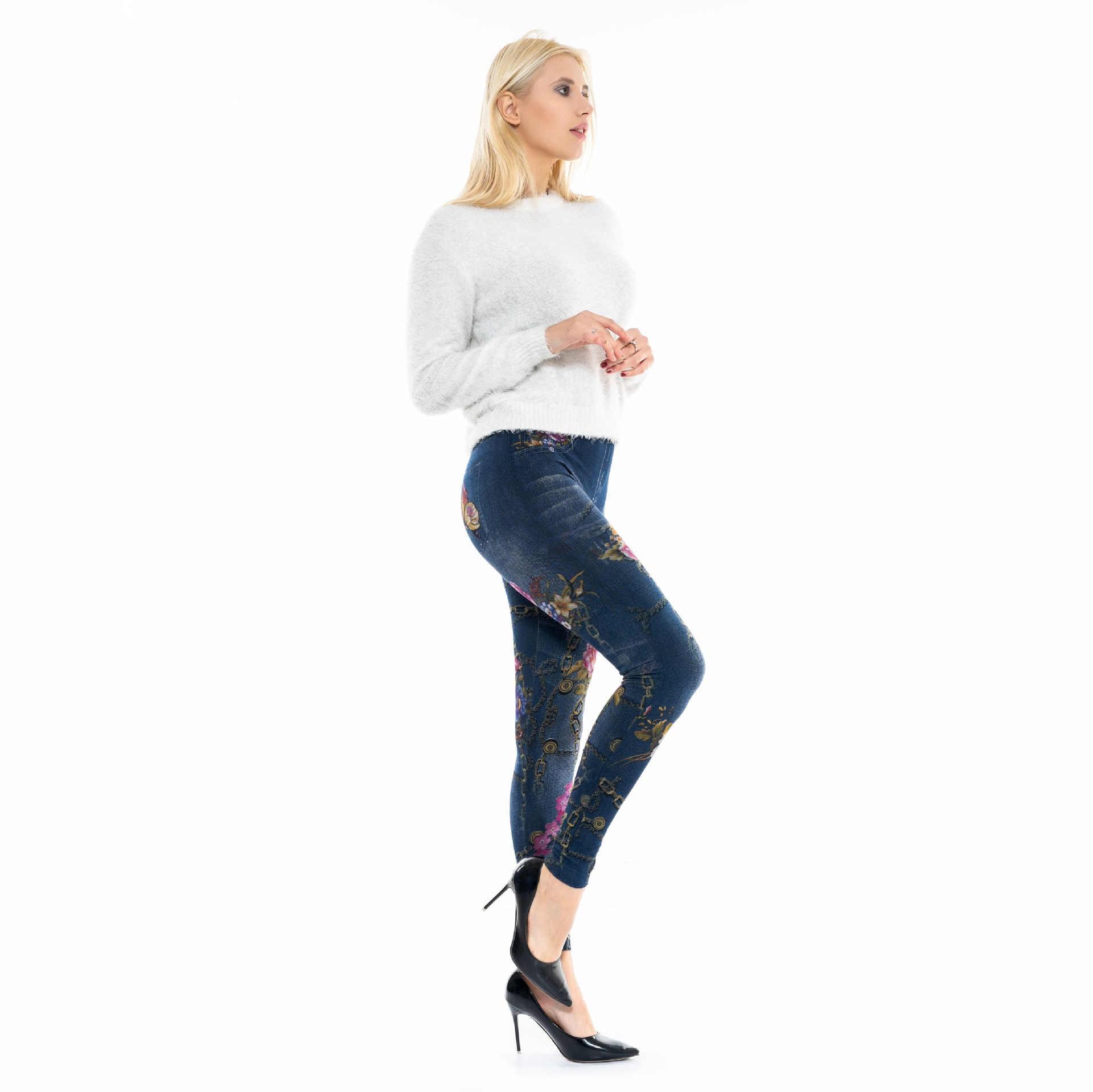 2de59bdfd4824 ... Faux Denim Jeans Leggings Butterfly Flower Print Leggings Women  Imitation Jean Slim Fitness Leggings Elastic Seamless ...