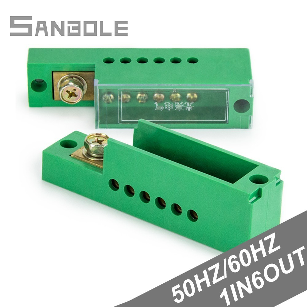 Terminal Block Green One-In Six-Out Zero Line Meter Box Connection Distribution Box Terminal Row Single Phase 660V image