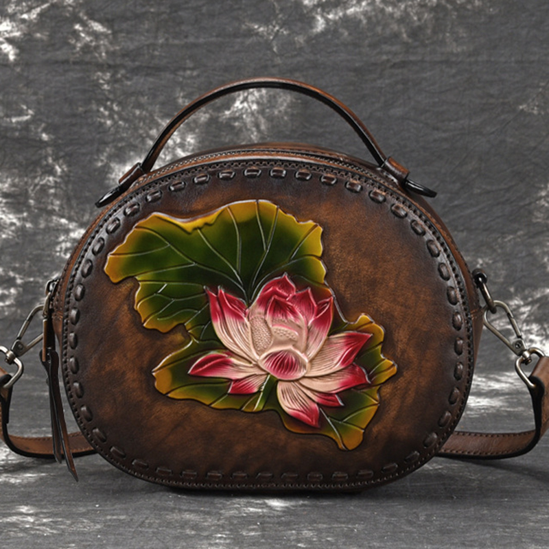 High Quality Natural Skin Women Messenger Shoulder Bags Lotus Embossed Chinese Style Retro Tote Genuine Leather Top Handle Bag-in Top-Handle Bags from Luggage & Bags    1