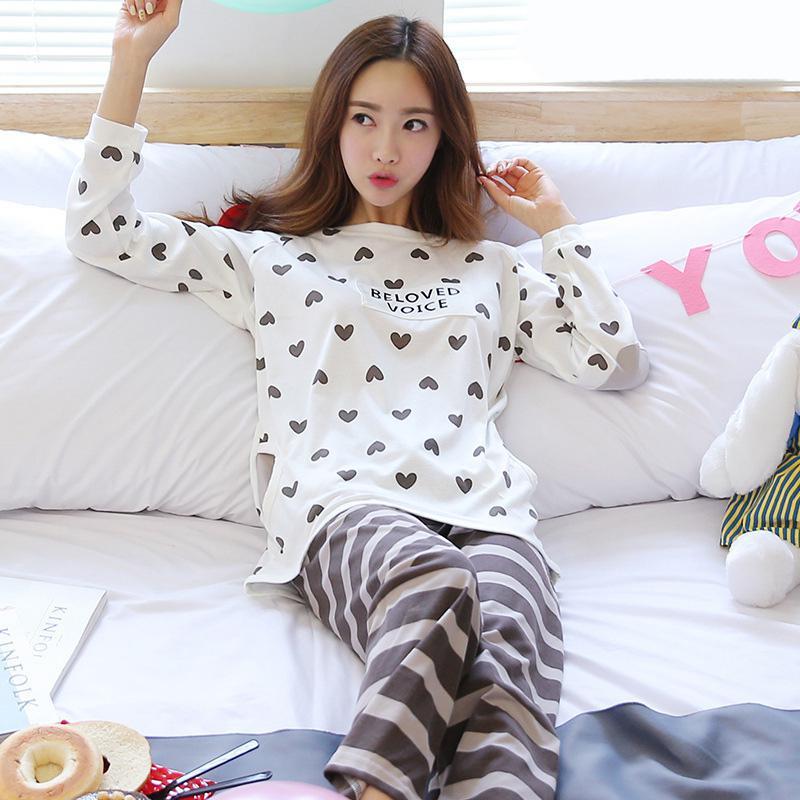 MISSKY 2PCS/Set Women Pajamas Sets Sleep Wear Cute Cartoon Long Sleeved Winter Home Wear Suit