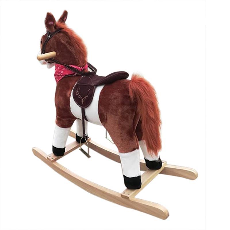 Jouet en bois pour enfants en peluche sur poney cheval à bascule avec son Neigh brun foncé - 6
