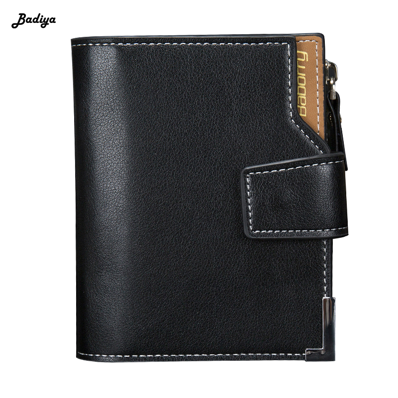 Short Men PU Leather Wallets Trifold Soft Wallet Card Holder Coin Pocket Lychee Pattern Wallet With Hasp Zipper