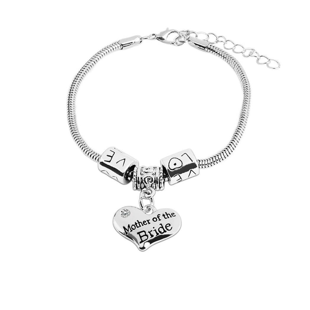 New Women Fashion Lettering Series Bangle Beauty Silver Bracelet Chain Everyday Wristband 25cm/9.8inch