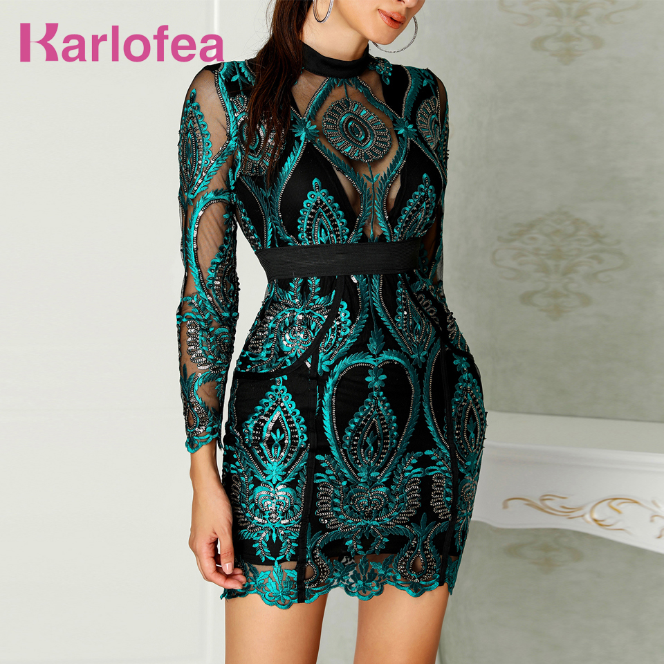 Karlofea Women Luxury Mesh Patchwork Embroidery Dress Celebrity Long Sleeve Elegant Party Runway Dress Lady Vintage Sequin Dress