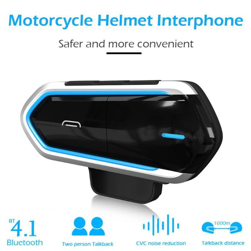 VODOOL Motorcycle Helmet Headset 450mAh Wireless Bluetooth Intercom Handsfree Stereo Music MP3 BT Interphone Communication Kit