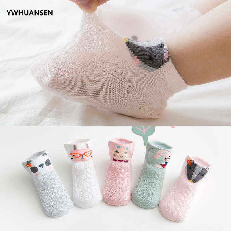 YWHUANSEN 5 Pairs/lot Thin Spring Summer Baby Mesh Socks Funny Animal PrintBoy Cotton Socks Toddlers Children Socks For Girls