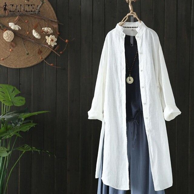 2019 Plus Size ZANZEA Spring Autumn Women Casual Lapel Long Sleeve Vintage Cotton Linen Loose Work OL Long Shirt Cardigan Blouse 2