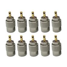 10 Uds. De conectores giratorios macho UHF PL259, Cable RG8 RG58, Cable Coaxial de antena RF, enchufe adaptador de Cable