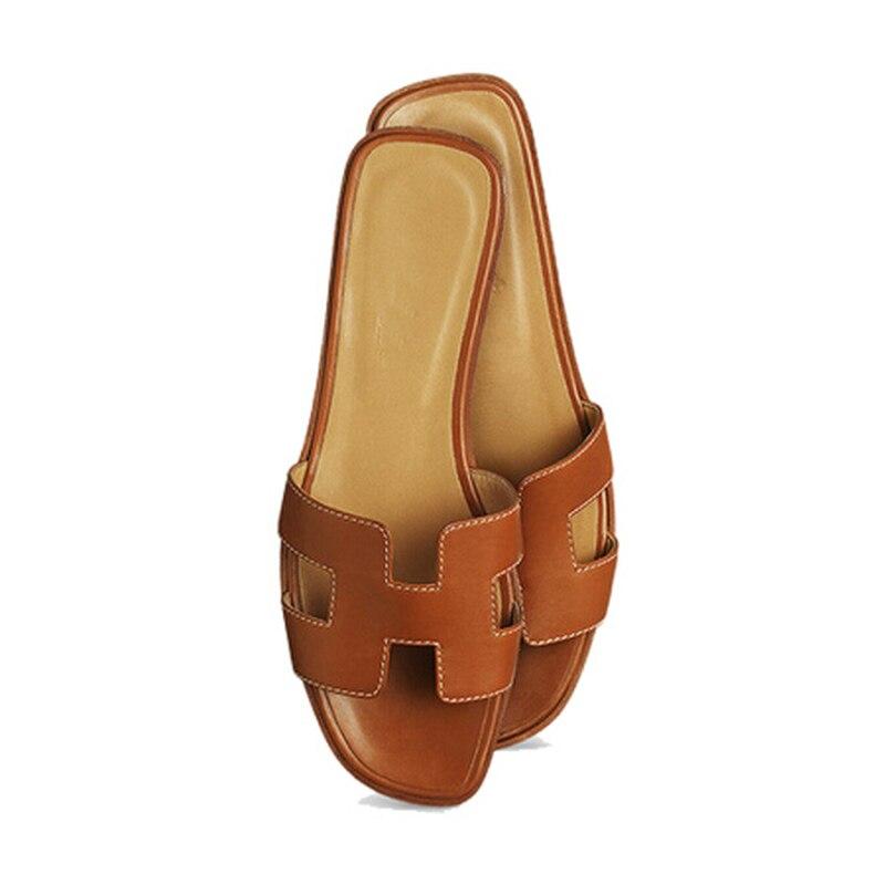 Tendance Pantoufles De Chaussures Véritable Luxe Colors brown Marque H Femmes En D'été Cuir Pour Femme Sandales Qualité Other Top Chaussons Designers Fw1qOK