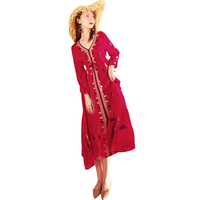 ecd3496f9f3489 ... Etnische Lange Mouwen Vrouwelijke Katoen Linnen Tops. Women Bohemia V  Neck Embroidery Ethnic Beach Boho Long Dress Retro Vestidos Boho Dress For  Female