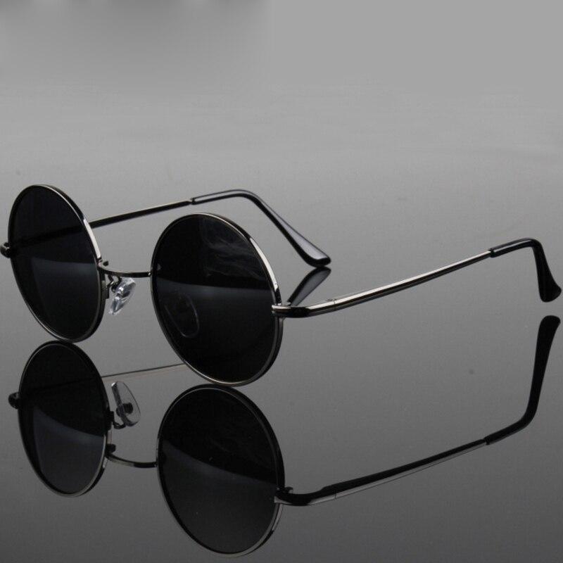 Retro Classic Vintage Round Polarized Sunglasses Men Brand Designer Sun Glasses Women Metal Frame Black Lens Eyewear Driving