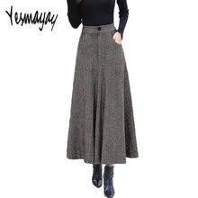 Vintage de lana caliente Maxi falda con bolsillos mujeres Otoño Invierno  elegante Oficina Falda larga falda fe40559053f1