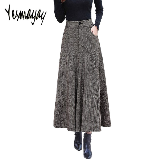 dec623e04ce000 Vintage Wool Warm Maxi Skirt with Pockets Women Autumn Winter Elegant  Office Long Skirt High Waist A-line Skirts Womens 2018