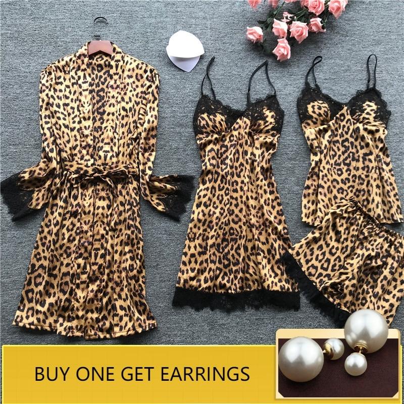 QWEEK Leopard Pajamas for Women Lace Sexy Lingerie Fashion Silk Pajama Sets Women 2019 Summer Pijama Mujer Pyjama with Chest Pad