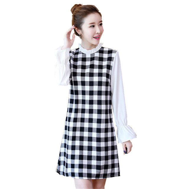 Plus Size 2019 New Spring Women dress Flare Full Sleeve Plaid Fat Mm Dresses 920