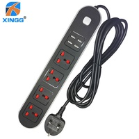 UK 3 Pins Plug Power Strip With Switch Fused 4 Universal Outlets 4 USB Charging Ports AC Electrical Extension Socket Plug Cord