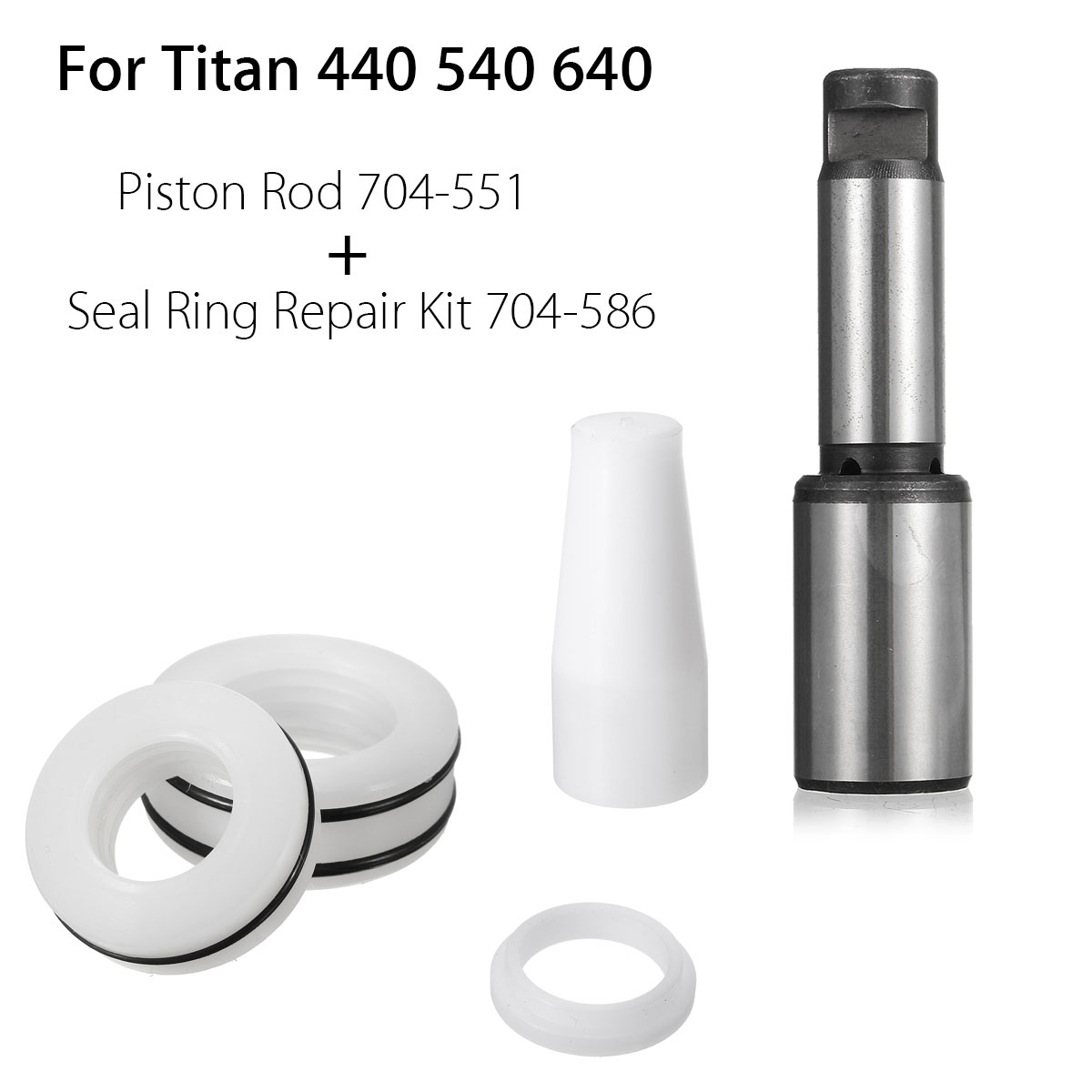 Doersupp For Titan 440 540 640 Piston Rod 704-551 With Airless Seal Repair Kit 704-586 Cage And Retainer Inside