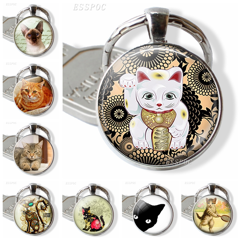 Cat Pendant Animal Jewelry Keychain Car Key Holder Key Chain Glass Dome Cabochon Pet Cat Mechanical Cartoon Art Accessories Gift