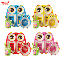 Bamboo Baby Dishes 5pcs/sets Tableware Cartoon Owl Utensils Natural Bamboo Fiber Bowl Cup Spoon Plate Feeding Dish For Kids