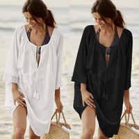 Femmes maillot De bain couverture Ups Sexy caftan Plage tunique Robe 2019 été Robe De Plage solide coton paréo Plage couverture