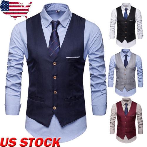 Men Formal Business Slim Fit Work Party Dress Vest Suit Tuxedo Casual Waistcoat