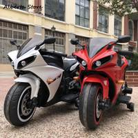 New R1 Children Electric Motorcycle Ride on Car 1 8 Years Old Charge Boy Girl Toy Car Can Sit & USB MP3 Jack Lights Music Top