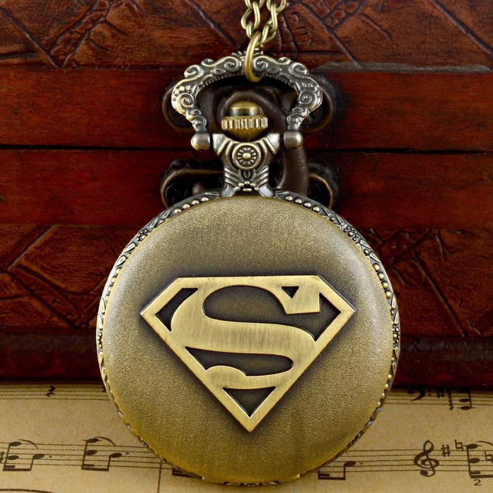 Super Man Theme Full Hunter Quartz Engraved Fob Retro Pendant Pocket Watch Chain Gift