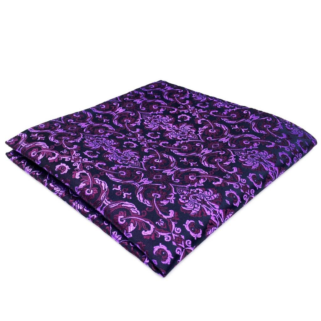 DH15 Purple Floral Men Pocket Square Wedding Silk Classic Handkerchief Brand New Groom Hanky