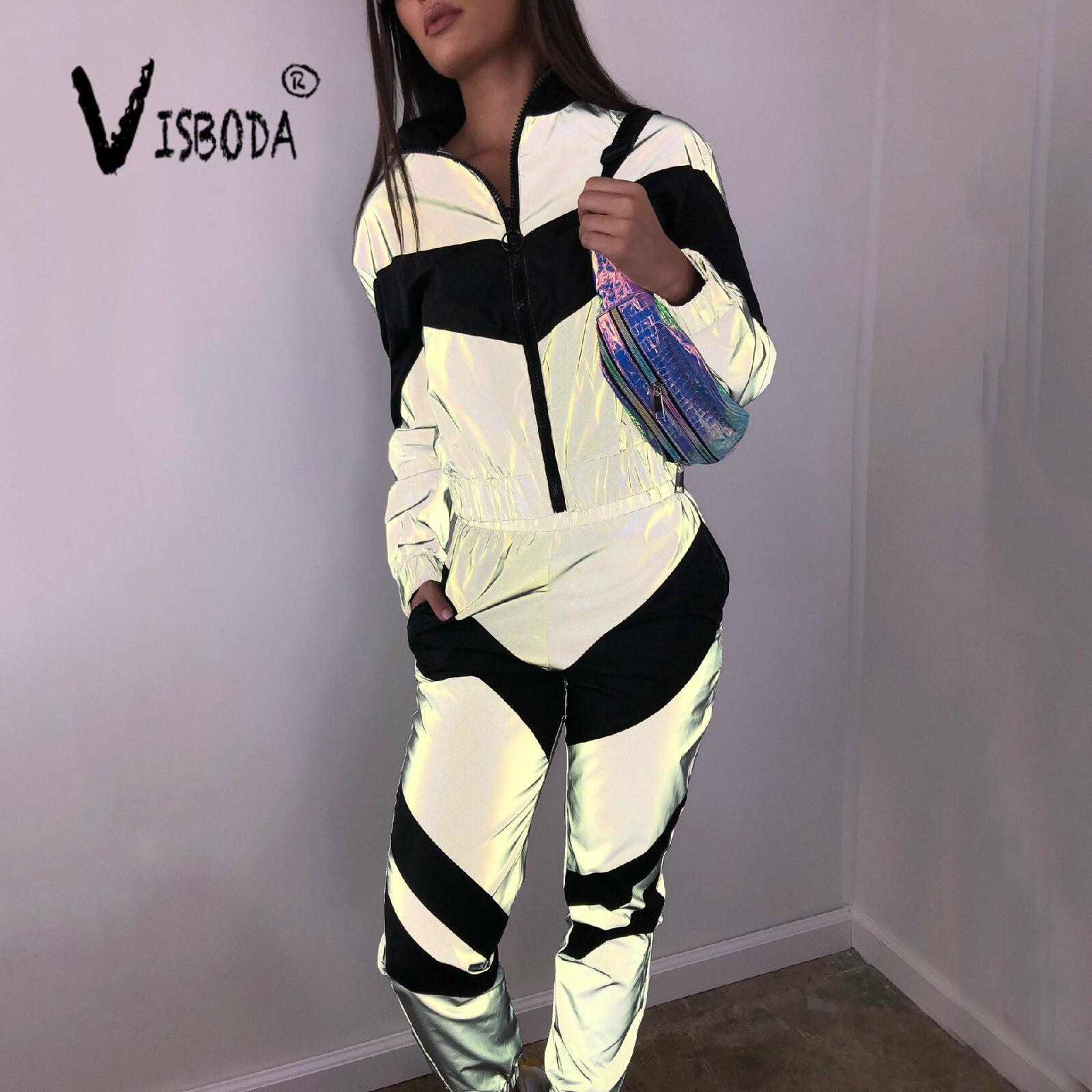 women-tracksuits-2-piece-set-reflective-zipper-crop-top-pants-fashion-female-female-loose-shine-jacket-coat-trouser-plus-size
