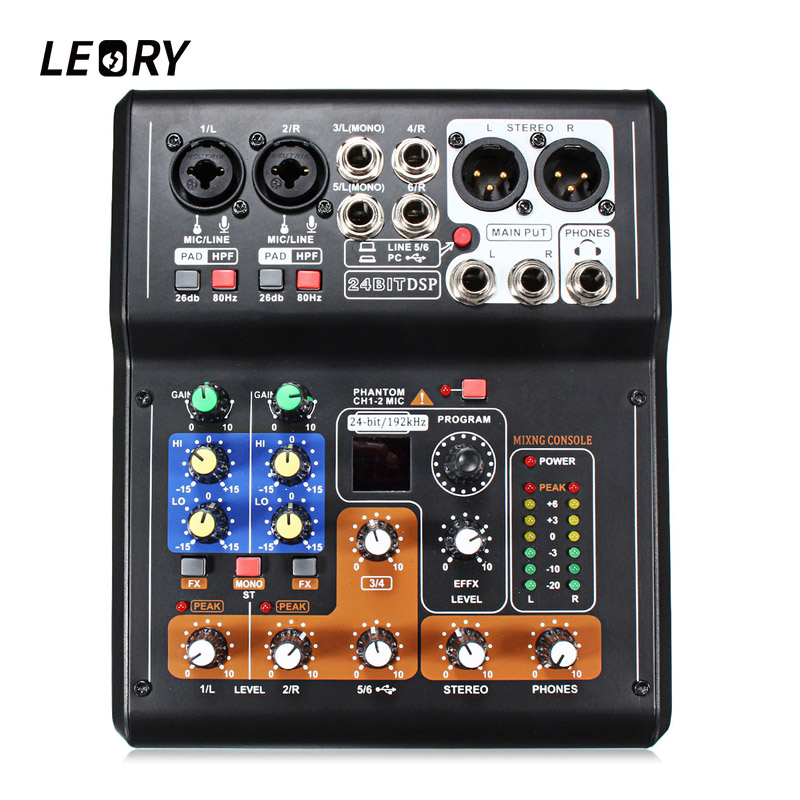 LEORY Professional 6 Channel Live Studio Audio Mixer DJ Mixing Phantom Console USB Digital Microphone Karaoke Sound Mixer professional 4 channel live mixing studio audio sound console network anchor portable mixing device vocal effect processor
