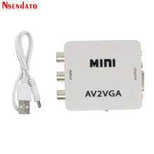 Konwerter wideo Mini HD AV2VGA konwerter AV RCA CVBS na konwerter wideo VGA konwerter z 3.5mm Audio na PC konwerter hdtv(China)
