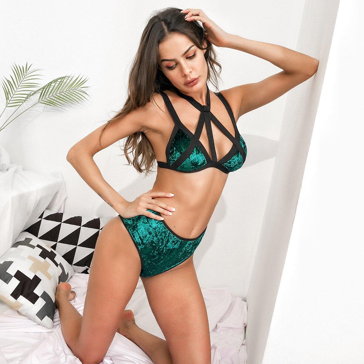 underwear   set   women velour strappy   bra     brief     set   winter velvet plunge two piece lingerie female 2 piece panties bralette WS4765Q