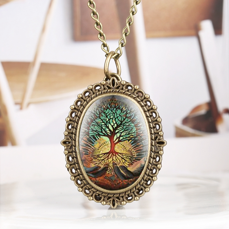 Creative Abstract Tree On Hands Display Quartz Pocket Watch Bronze Pendant Necklace Lady Jewelry Clock Fob Watch Gift Hour Reloj