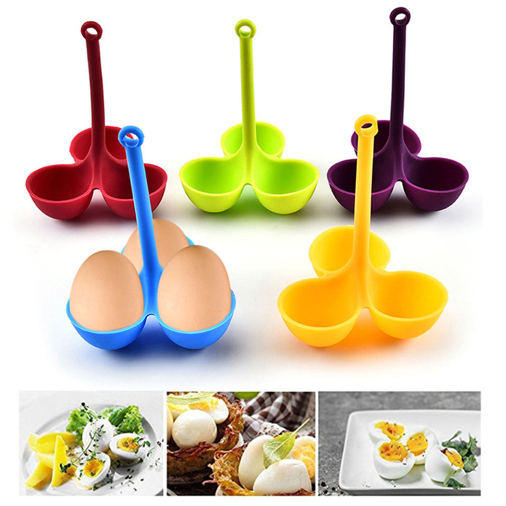 Food Grade <font><b>Silicone</b></font> <font><b>Eggs</b></font> Steamer Poacher Poaching <font><b>Holder</b></font> 3 <font><b>Egg</b></font> Trays With Long Handle <font><b>Eggs</b></font> Cooking Tools for Kitchen Gadget 2019 image