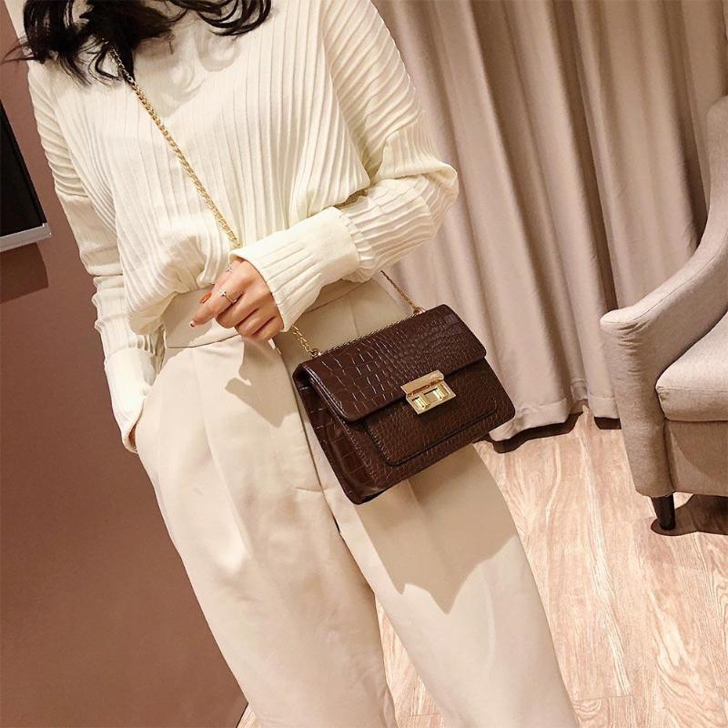 2019 moda feminina pequena cor sólida bolsa de ombro retro corrente aleta bolsas femininas bolsa
