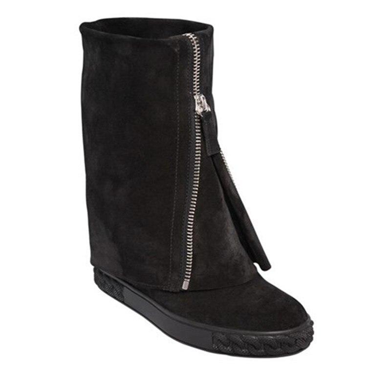 Двухлицевые кроссовки из замши и на резиновой подошве с цепочками, женские кроссовки, увеличивающие рост, на танкетке, осенне зимние ботиль