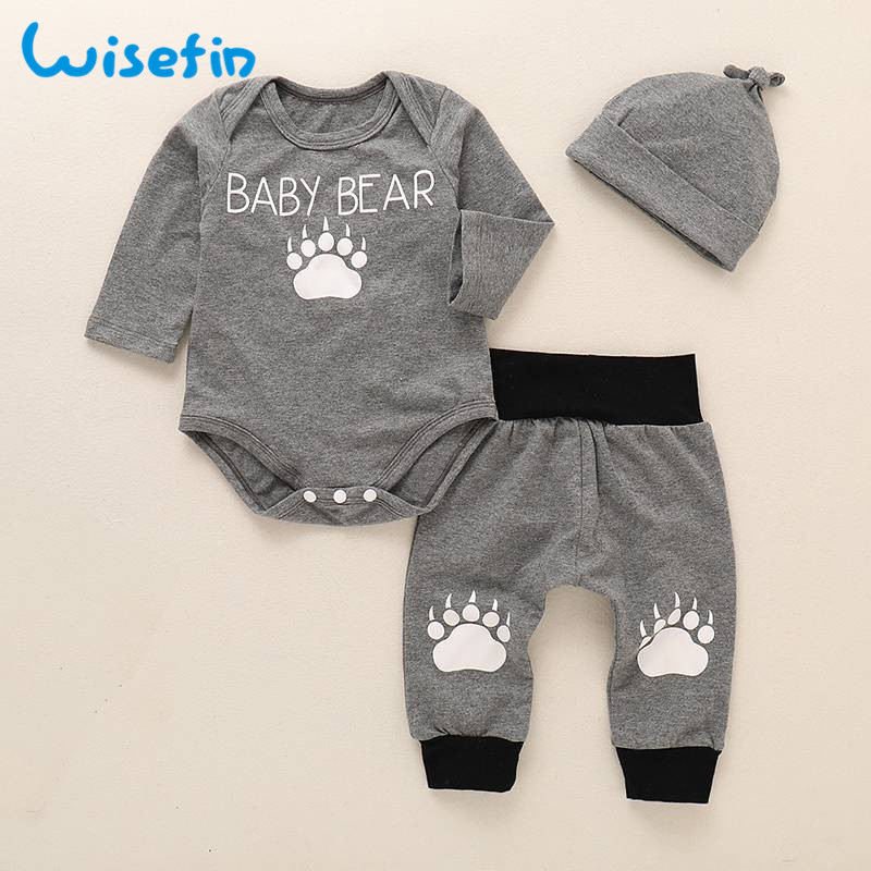 Wisefin Baby Boy Outfits Newborn Clothes Set Cute Toddler 3Pcs Bodysuits+Pants+Hat Winter