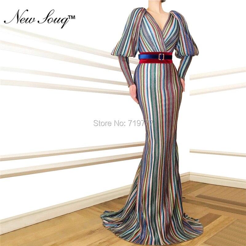 Date 2019 réfléchissant robes De soirée dubaï musulman arabe caftan Robe De soirée Robe De soirée manches longues Robe De bal robes - 3