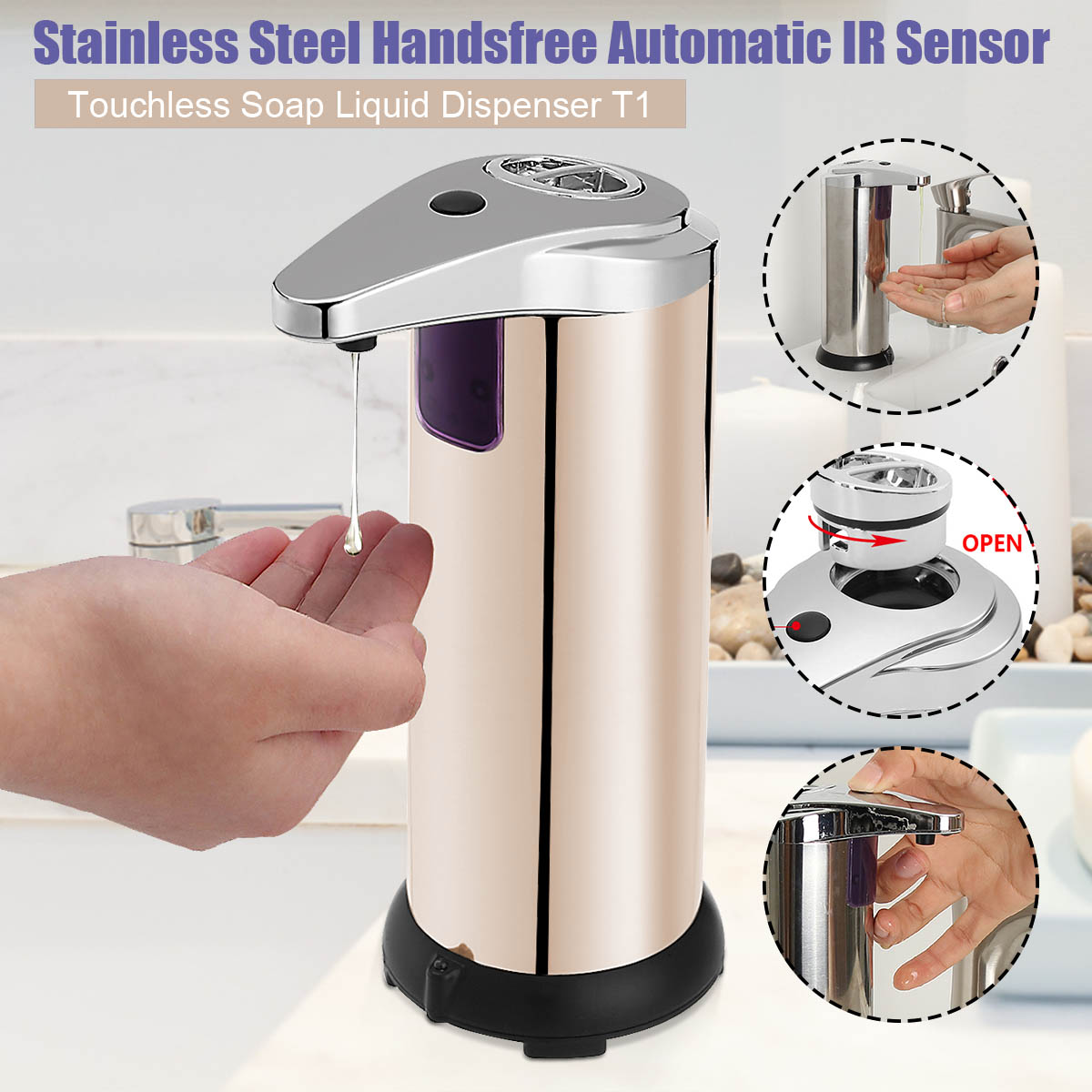 Xueqin 280ml Stainless Steel Sensor Soap Dispenser Automatic Liquid Soap Dispenser Pump Shower Kitchen Soap Bottle For Bathroom