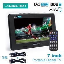 Leadstar 7 дюймовый портативный телевизор DVB-T2 ATSC ISDB-T tdt цифровой и аналоговый мини маленький автомобильный телевизор Поддержка USB TF карта MP4 AC3