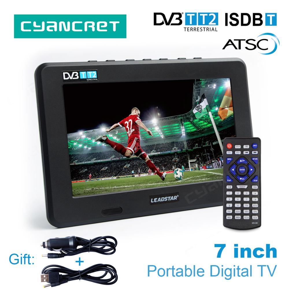 LEADSTAR D7 7 pollice Portatile TV DVB-T2 ATSC ISDB-T Digitale e Analogico mini piccola Auto TV Televisione USB di Sostegno TF carta di MP4 AC3