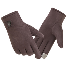 Suede telefinger gloves men winter warm add velvet touch screen Korean outdoor riding or driving windproof non-slip 0302
