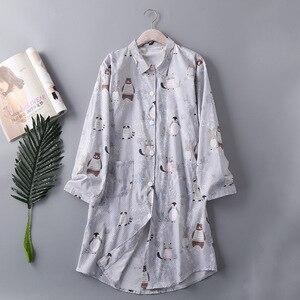 Image 3 - Bahar Rahat Yumuşak Pamuklu Seksi Pijama Artı Boyutu Kadınlar turn aşağı Yaka Kadın Iç Çamaşırı Gecelik Karikatür gece elbisesi