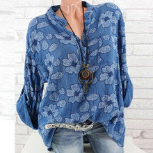 2019 Floral Print Women Shirts Summer Autumn Casual V-neck Blouse