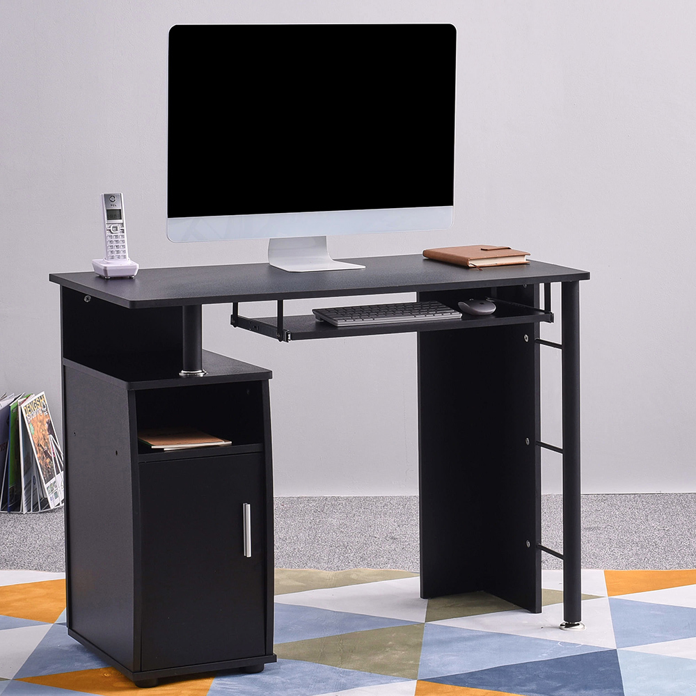 Panana Computer Desk With Cupboard Shelves Storage + Keyboard Tray For Home Office Study Fast Delivery