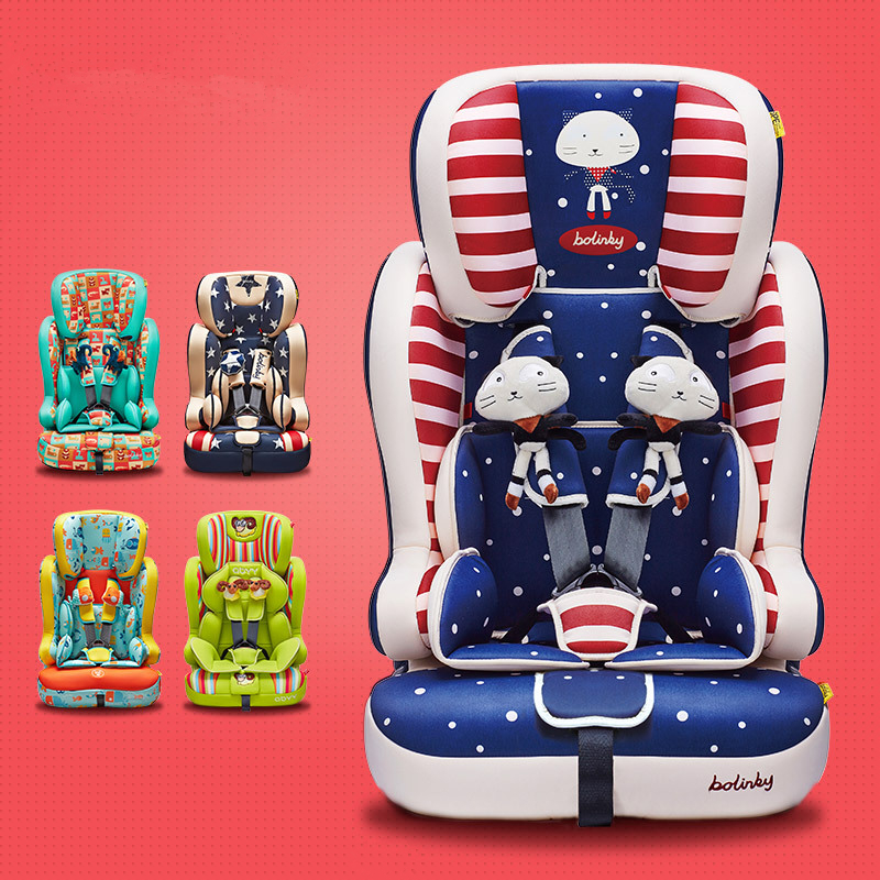 Child Cartoon Car Safety Seat Portable Travel Baby Chair Adjustable Lying Safe Fit for Aged 0-12 Years Old