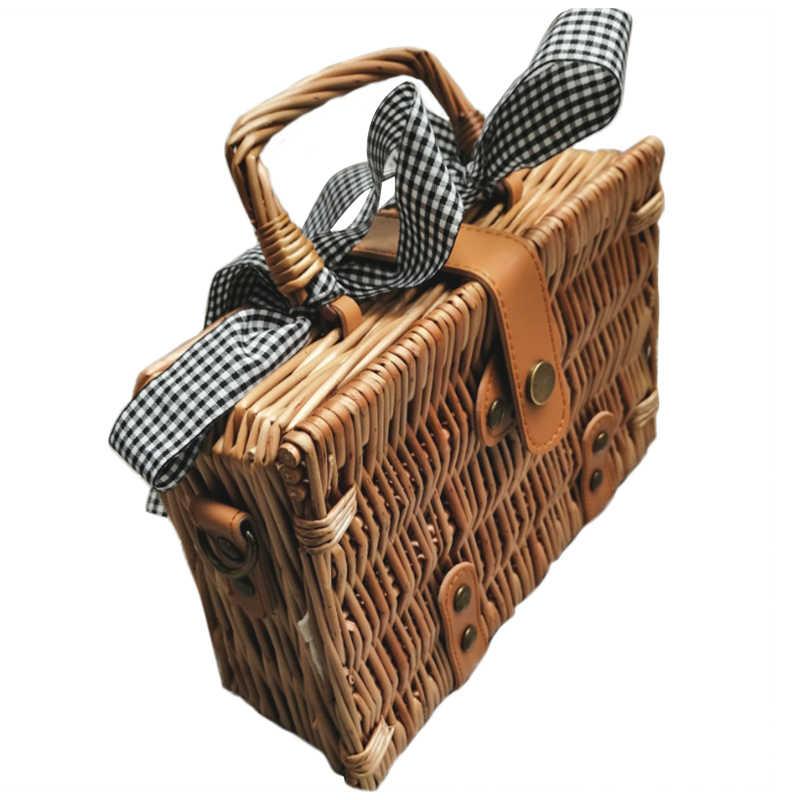 f88fa1842ede7 Lato Bali ręcznie pleciony wiklinowy koszyk haftowane torby na ramię  Messenger torba plaży wikliny torba czeski